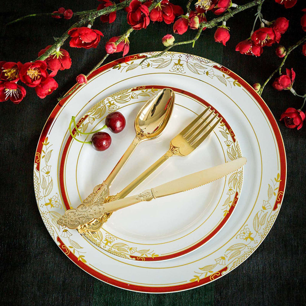 72 Pack Metallic Gold Baroque Disposable Plastic Cutlery Set