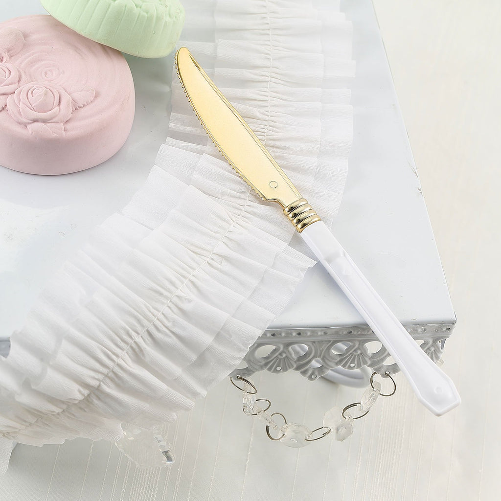 Plastic Knife , Gold Plastic Silverware, Cake Knife
