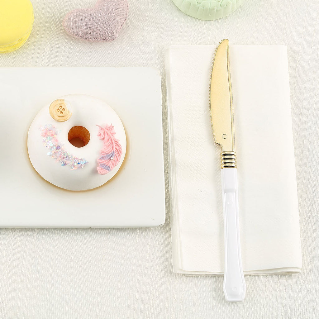 Plastic Knife, Gold Plastic Silverware, Cake Knife