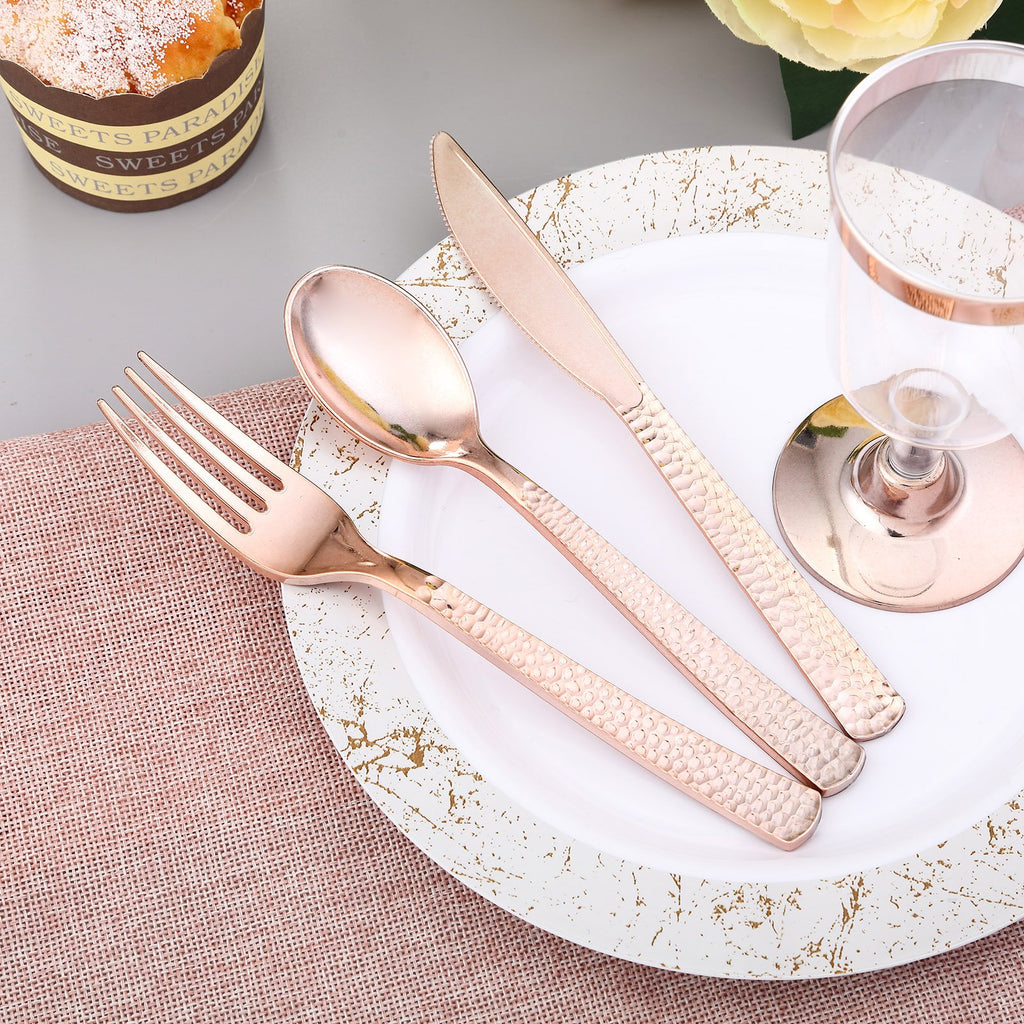 Disposable Plastic Cutlery Set | 72 Pack | Rose Gold | Hammered Design