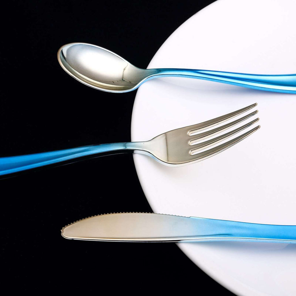 Disposable Plastic Cutlery Set | 72 Pack | Blue-Silver | Ombre Design