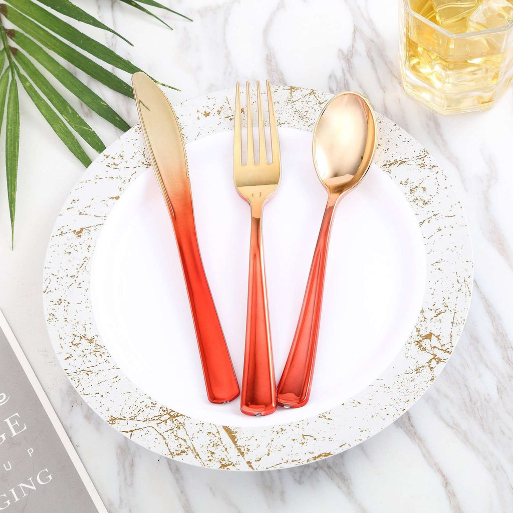 Disposable Plastic Cutlery Set | 72 Pack | Red-Gold | Ombre Design