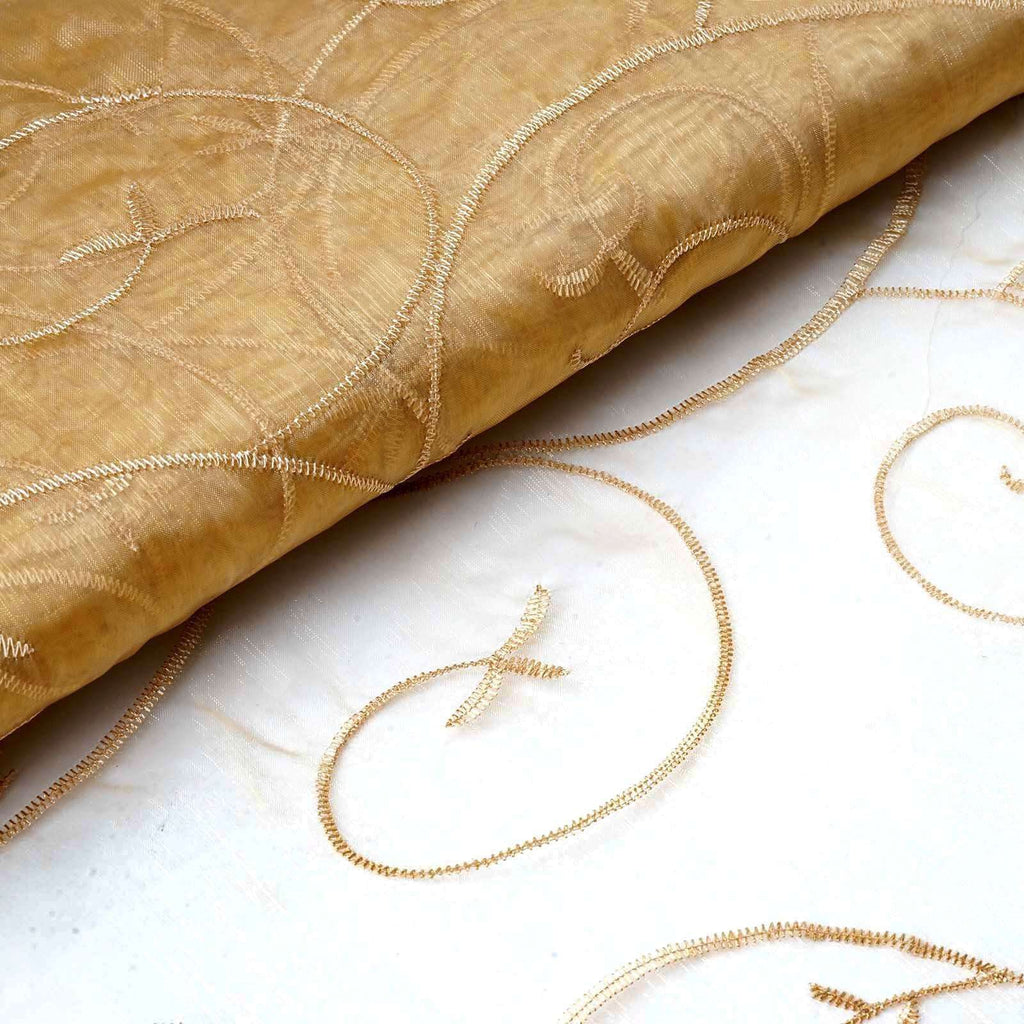 "Shimmering Organza with Satin Embroidery Fabric Bolt - Gold - 54"" x 10Yards"