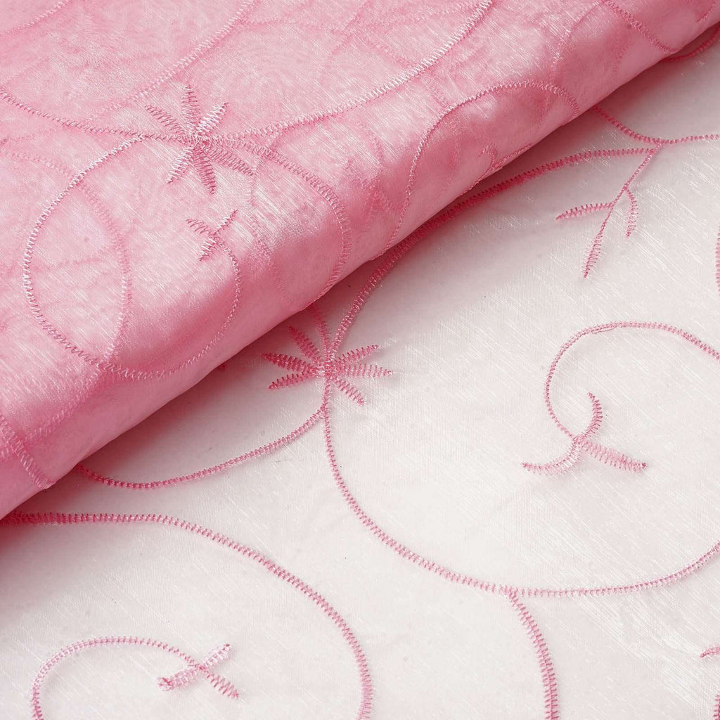 "Shimmering Organza with Satin Embroidery Fabric Bolt - Pink- 54"" x 10Yards"