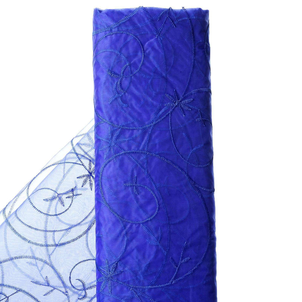 "Shimmering Organza with Satin Embroidery Fabric Bolt - Royal Blue- 54"" x 10Yards"