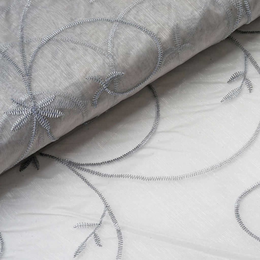 "Shimmering Organza with Satin Embroidery Fabric Bolt - Silver- 54"" x 10Yards"