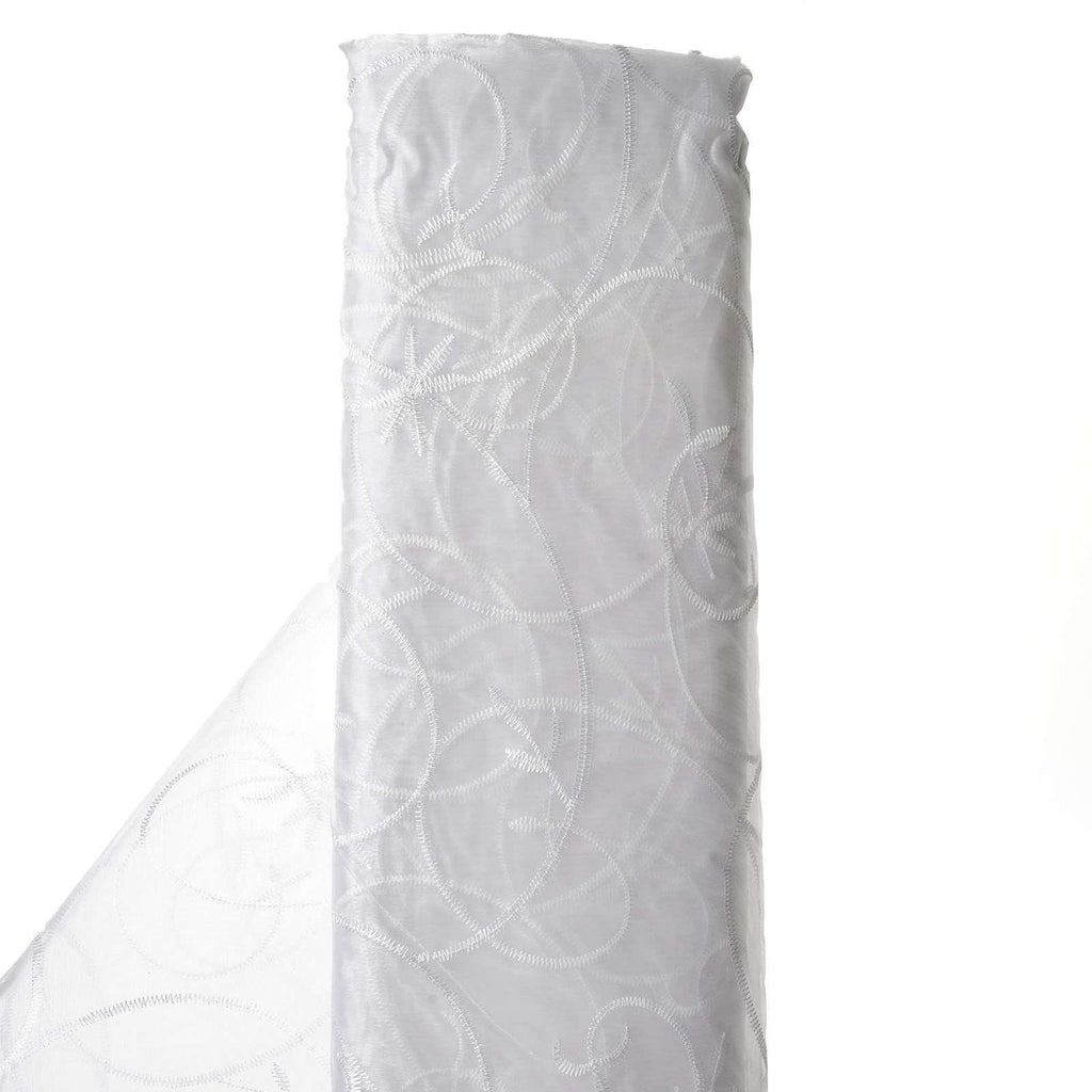 "Shimmering Organza with Satin Embroidery Fabric Bolt - White- 54"" x 10Yards"