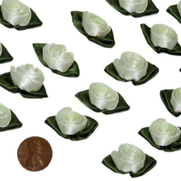 144 Pack Mint Green Satin Rose Buds