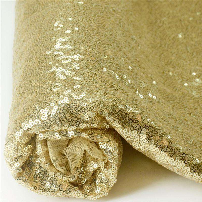 54?x 4 Yards Champagne Premium Sequin Fabric Bolt Wedding Party Dress