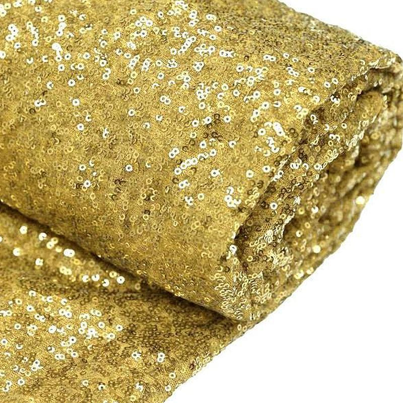 "54"" x 4 Yards Champagne Premium Sequin Fabric Bolt Wedding Party Dress"
