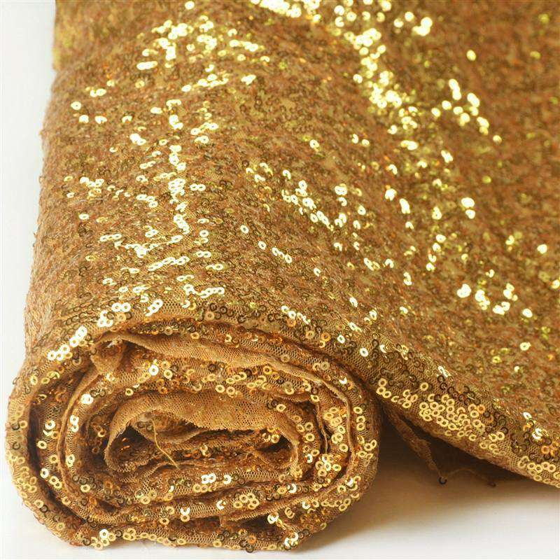 "54""x 4 Yards Gold Premium Sequin Fabric Bolt Wedding Party Dress"