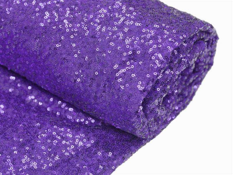 54x 4 Yards Purple Premium Sequin Fabric Bolt Wedding Party Dress