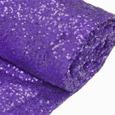 "54"" x 4 Yards Purple Premium Sequin Fabric Bolt Wedding Party Dress"