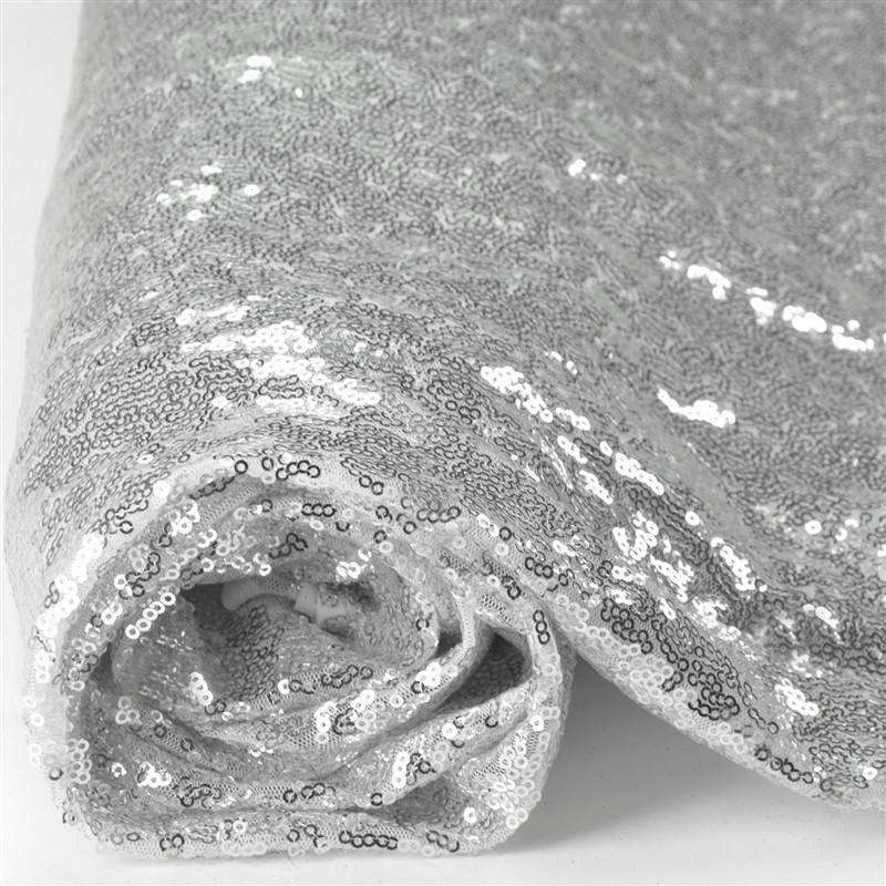 54?x 4 Yards Silver Premium Sequin Fabric Bolt Wedding Party Dress