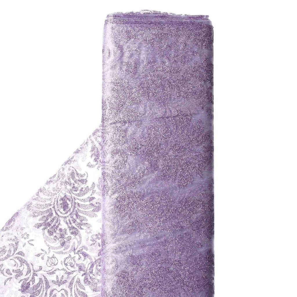 "Glittered Damsak Flocking Organza Wedding Dress Fabric Bolt - Lavender - 54"" x 10 Yards"