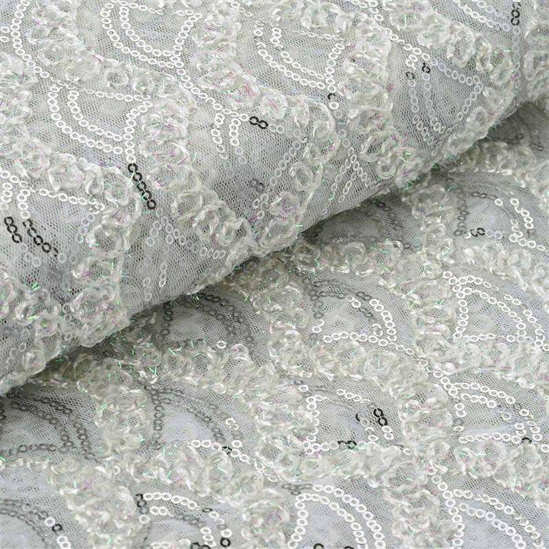 "Designer Party Dress Wedding Tulle with Sequins And Thread Work Fabric Bolt - White - 54""x4 Yards"