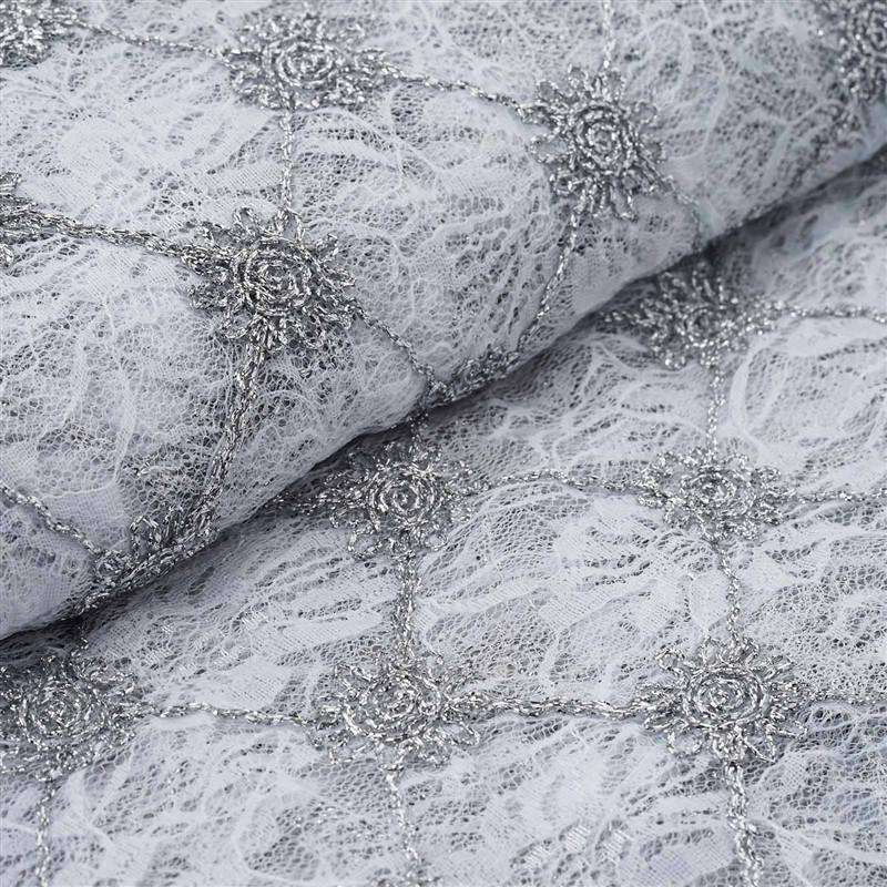 "Sun-Inspired Floral Lace Fabric Bolt 54"" x 4yards - Silver/White"