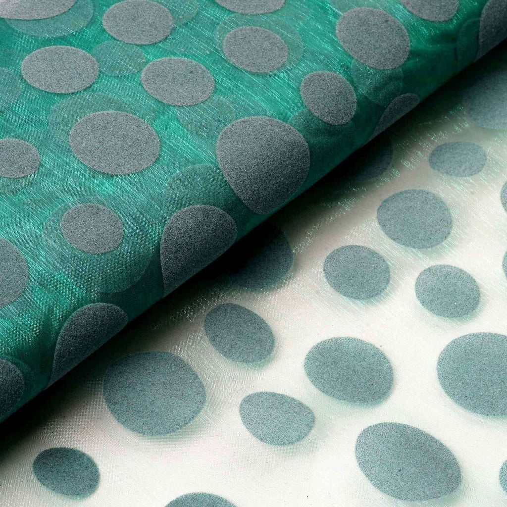 "Groovy Velvet Dots on Organza Fabric Dress Bolt - Emerald- 54""x10 Yards"