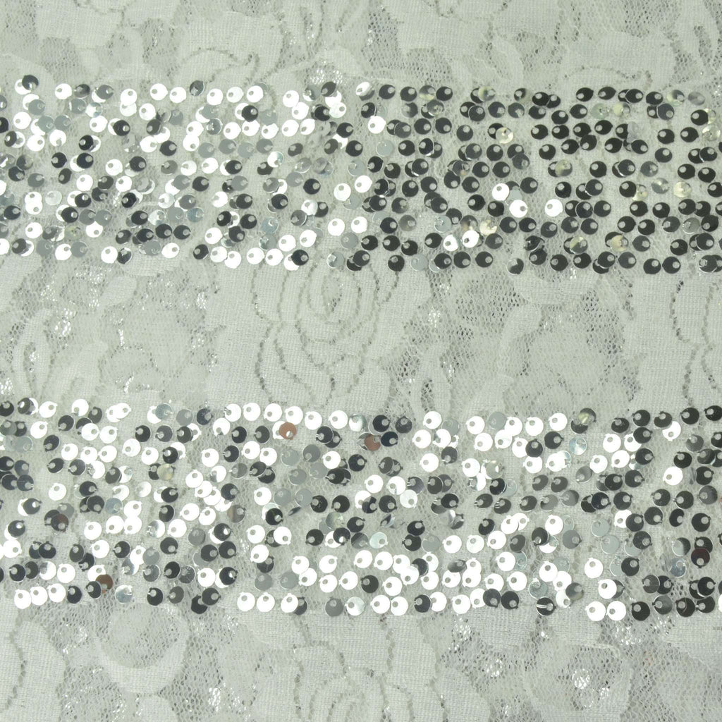 "Silver Sequined Streamy Lace Fabric Bolt 54"" x 4yards - White"