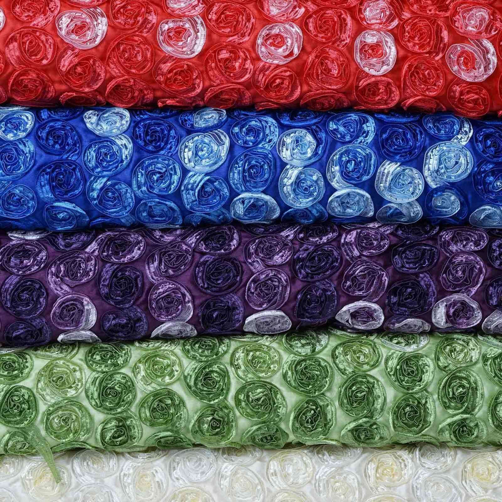 "Grandiose Mini Rosette Multi Shade Fabric Bolt For Wedding Party Event Decoration - Eggplant - 54""x4 Yards"