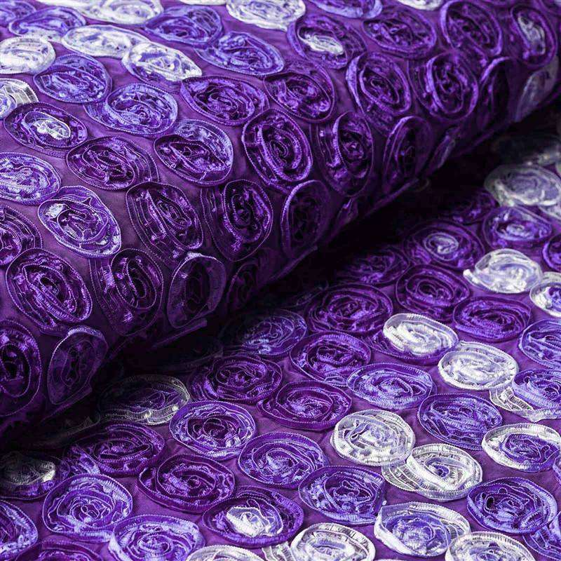 "Grandiose Mini Rosette Multi Shade Fabric Bolt For Wedding Party Event Decoration - Purple - 54""x4 Yards"