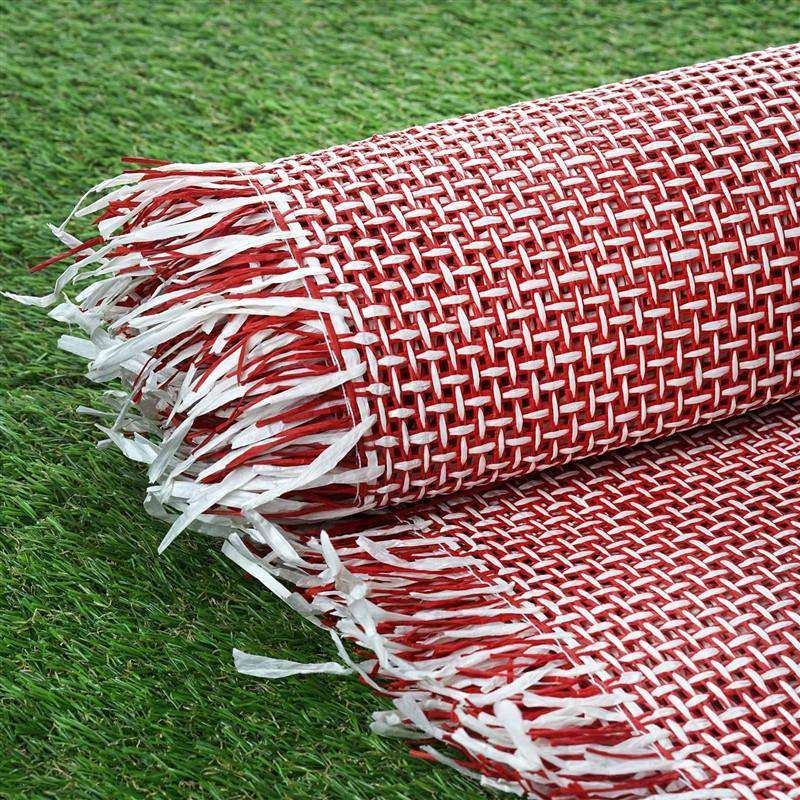"Premium Raffia Picnic Party Upholstery Fabric Bolt - RED/WHITE - 54"" x 4 Yards"