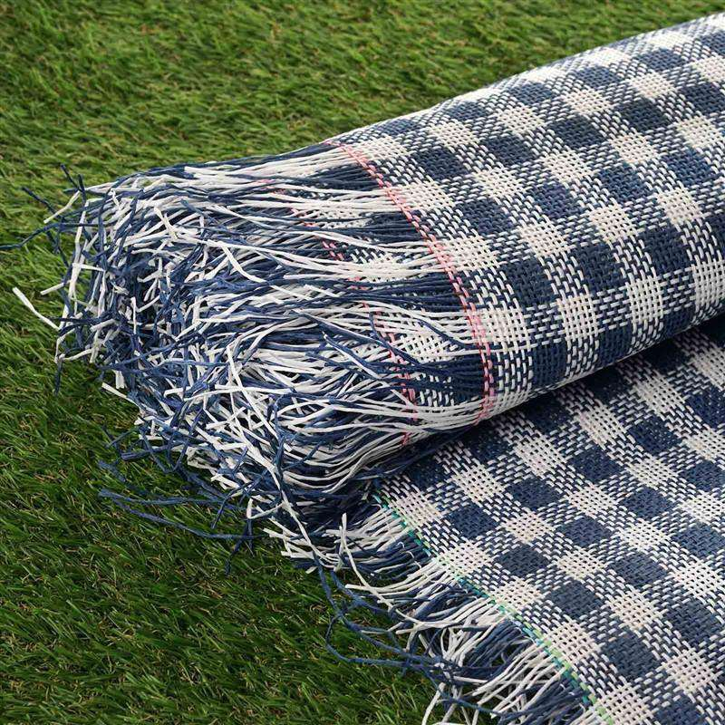 "Premium Raffia Picnic Party Upholstery Fabric Bolt - WHITE/NAVY - 54"" x 4 Yards"
