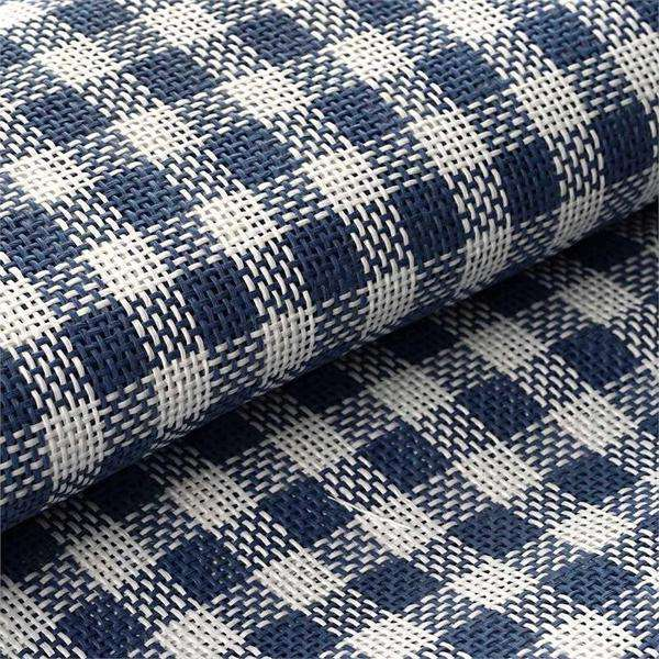 "4 Yards 54"" Premium Eco Friendly Raffia Picnic Party Checkered Upholstery Fabric Bolt - Navy/White"