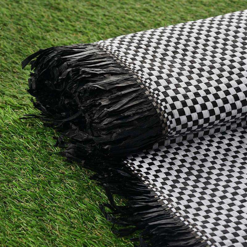 "Premium Raffia Picnic Party Upholstery Fabric Bolt - BLACK/WHITE - 54"" x 4 Yards"