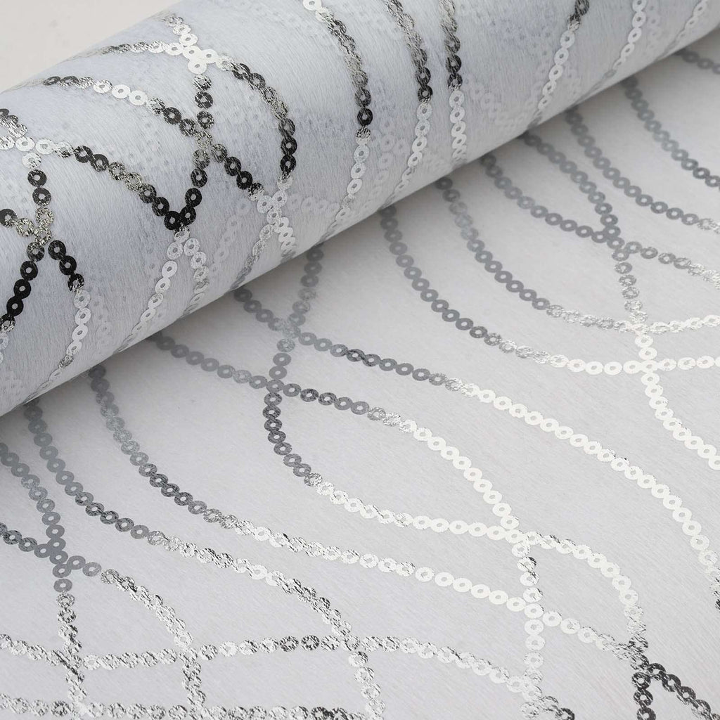 "Glossy Party Event Craft Non-Woven Friendship Chain Design Fabric Bolt -Silver/White- 19""x10Yards"