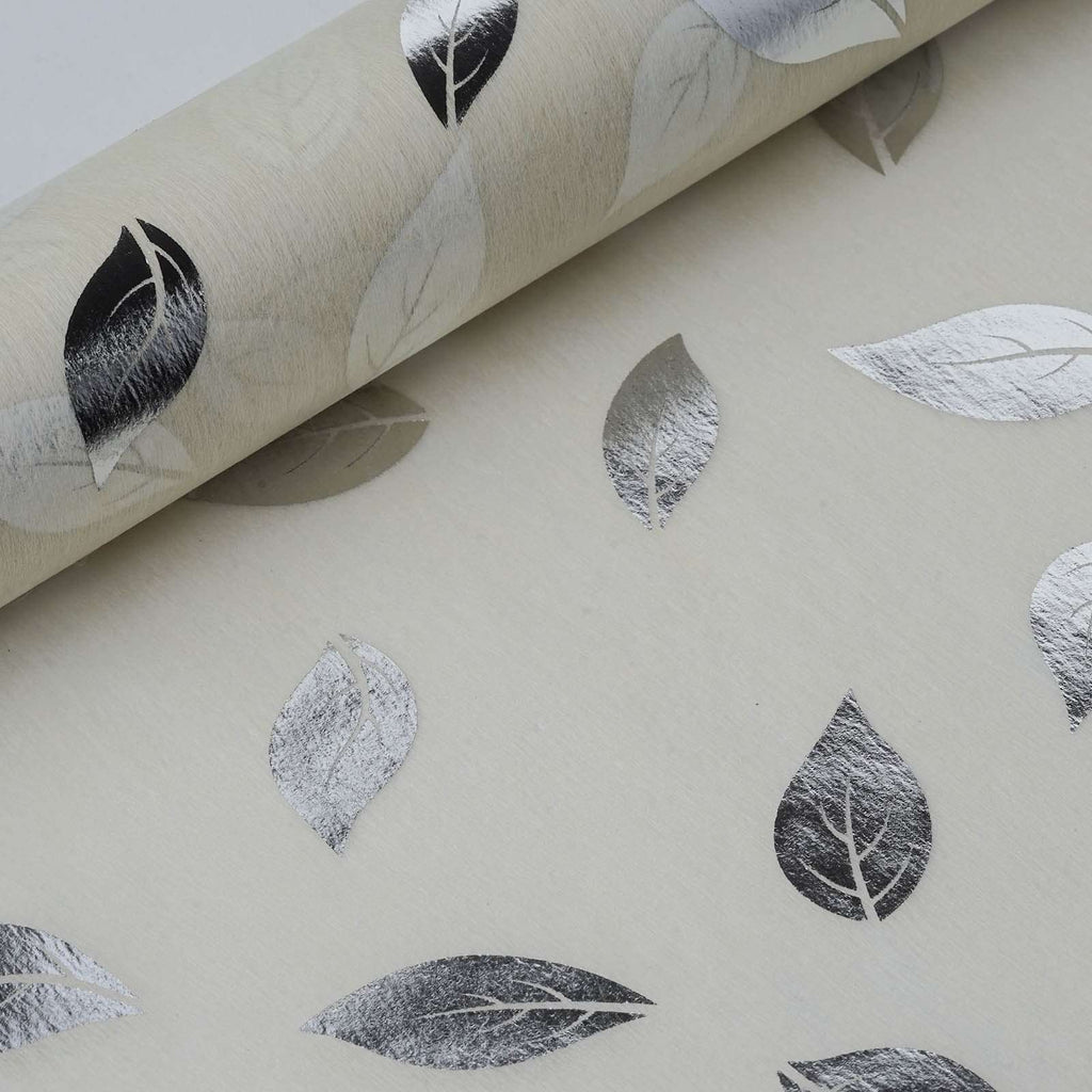 "Glossy Party Event Craft Non-Woven Leaf Design Fabric Bolt -Silver/Ivory- 19""x10Yards"