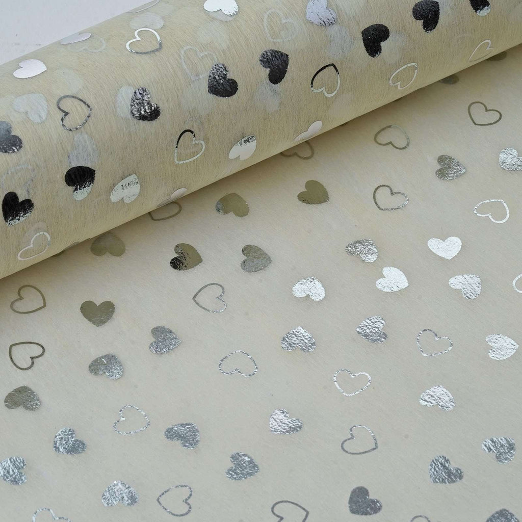 "Glossy Party Event Craft Non-Woven Heart Shower Design Fabric Bolt -Ivory/Silver- 19""x10Yards"
