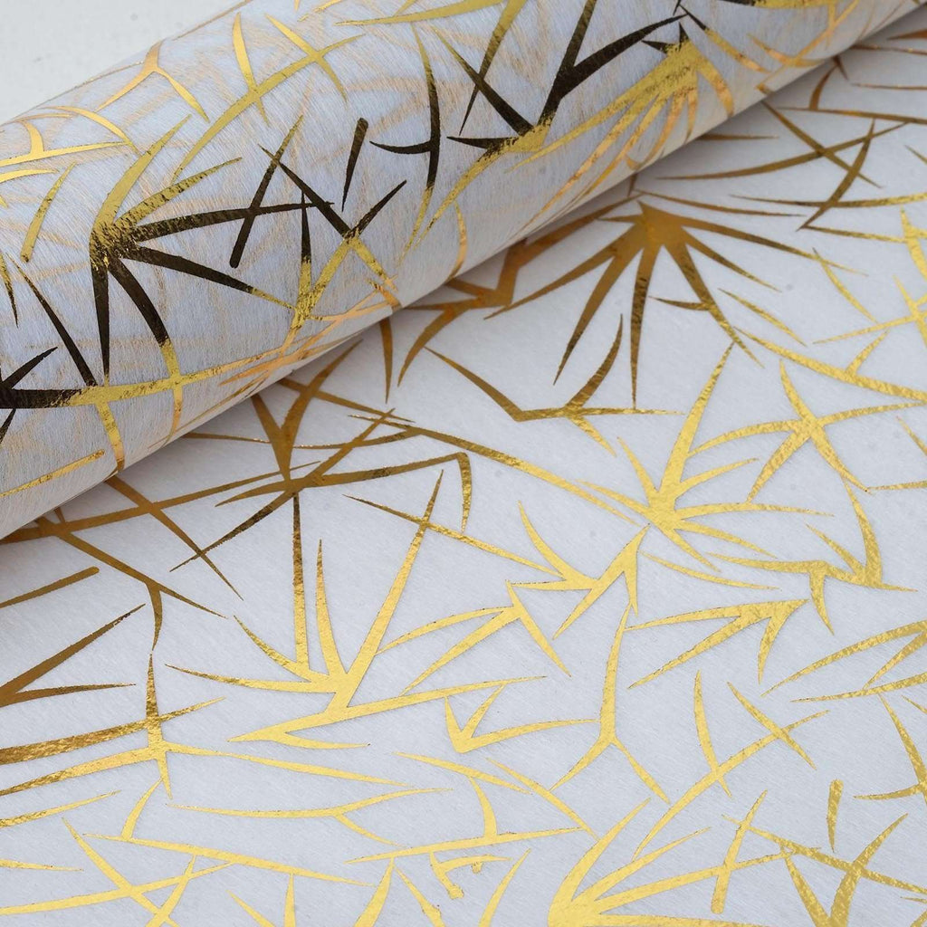"Glossy Party Event Craft Non-Woven Grass Design Fabric Bolt -Gold/White- 19""x10Yards"