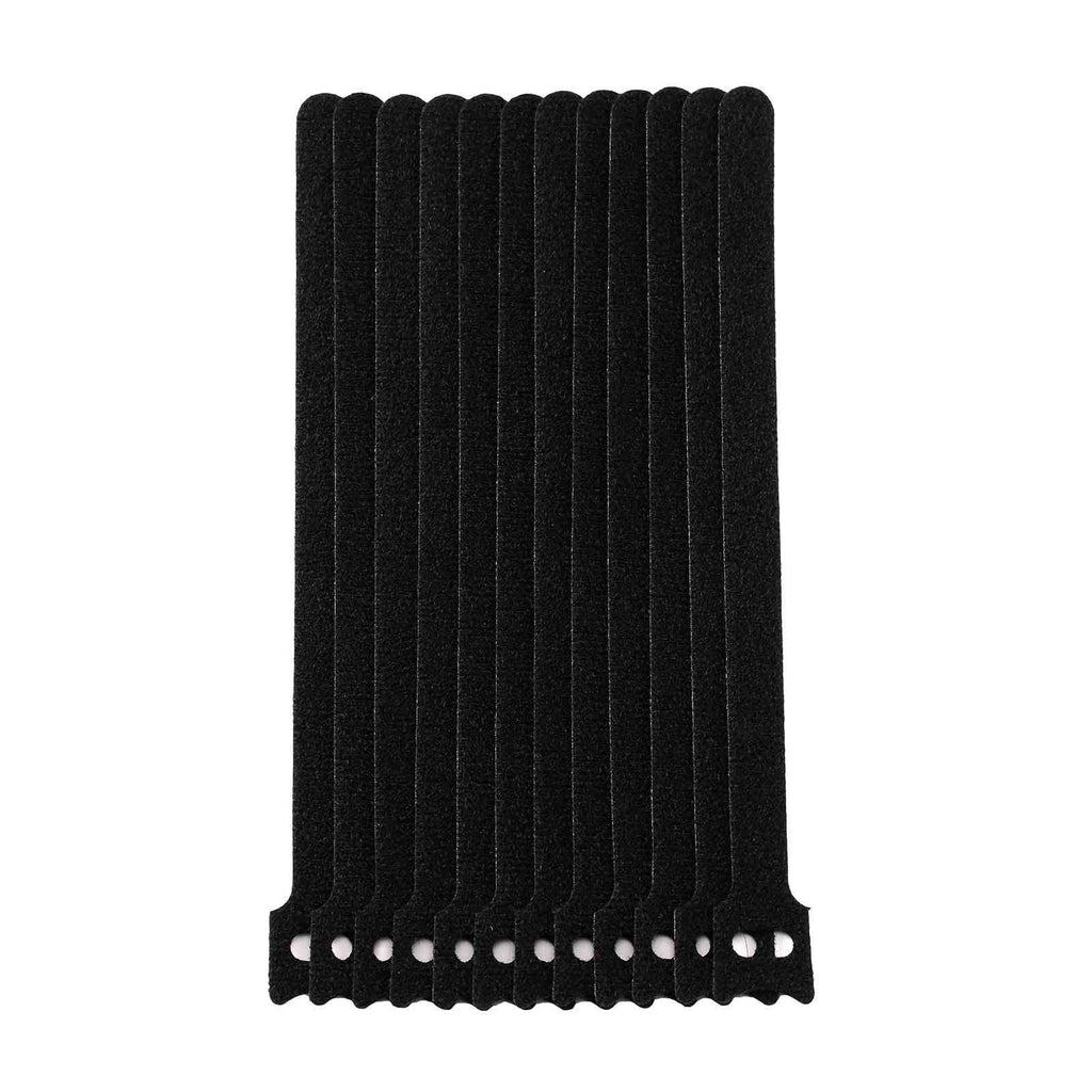 "12 Pack | 8"" Black Hook and Loop Fastener Reusable Velcro Strips Cable Ties"