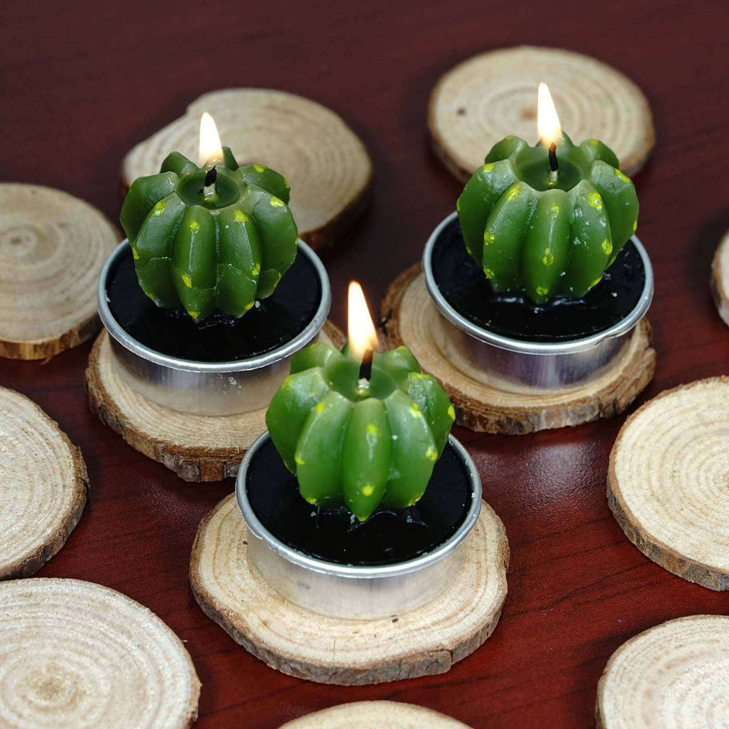 Barrel Cactus Tea Light Candles - 6/pk - Green