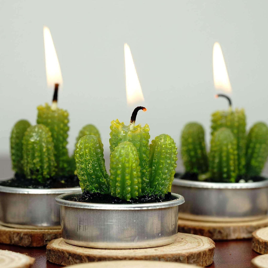 San Pedro Cactus Tea Light Candles - 6/pk - Green