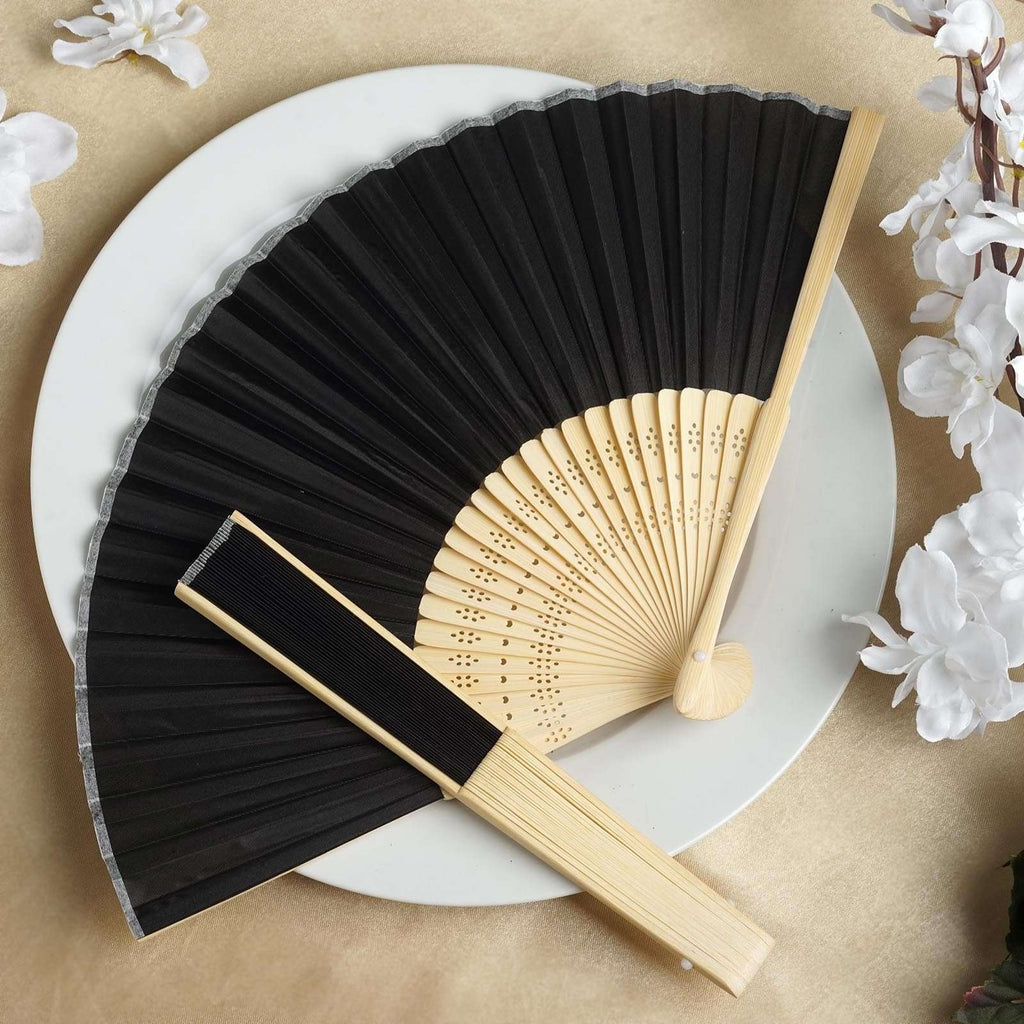 Wholesale Silk Folding Wedding Party Favor Fans Table Top Placecard Holder - Black