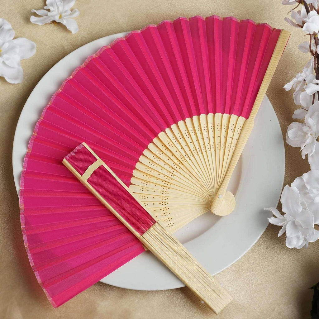 Wholesale Silk Folding Wedding Party Favor Fans Table Top Placecard Holder - Fushia