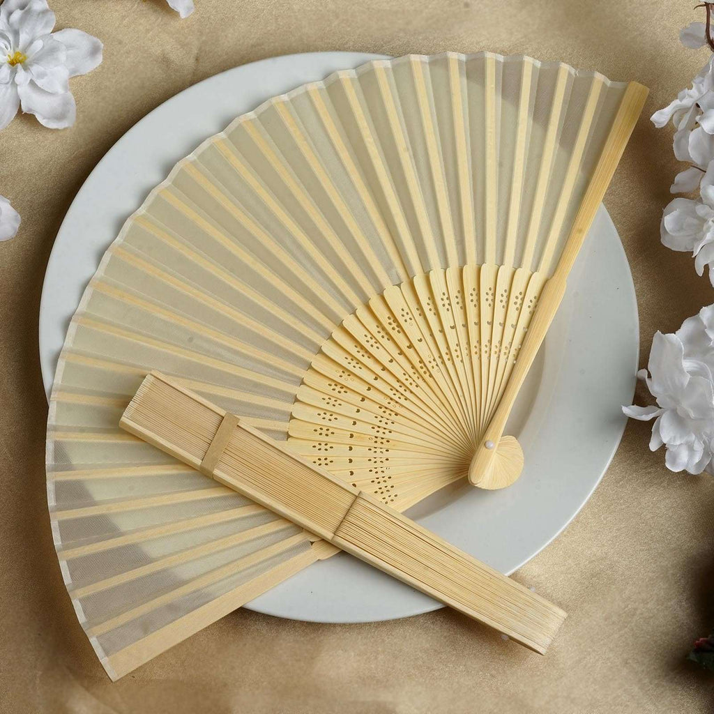 Wholesale Silk Folding Wedding Party Favor Fans Table Top Placecard Holder - Ivory