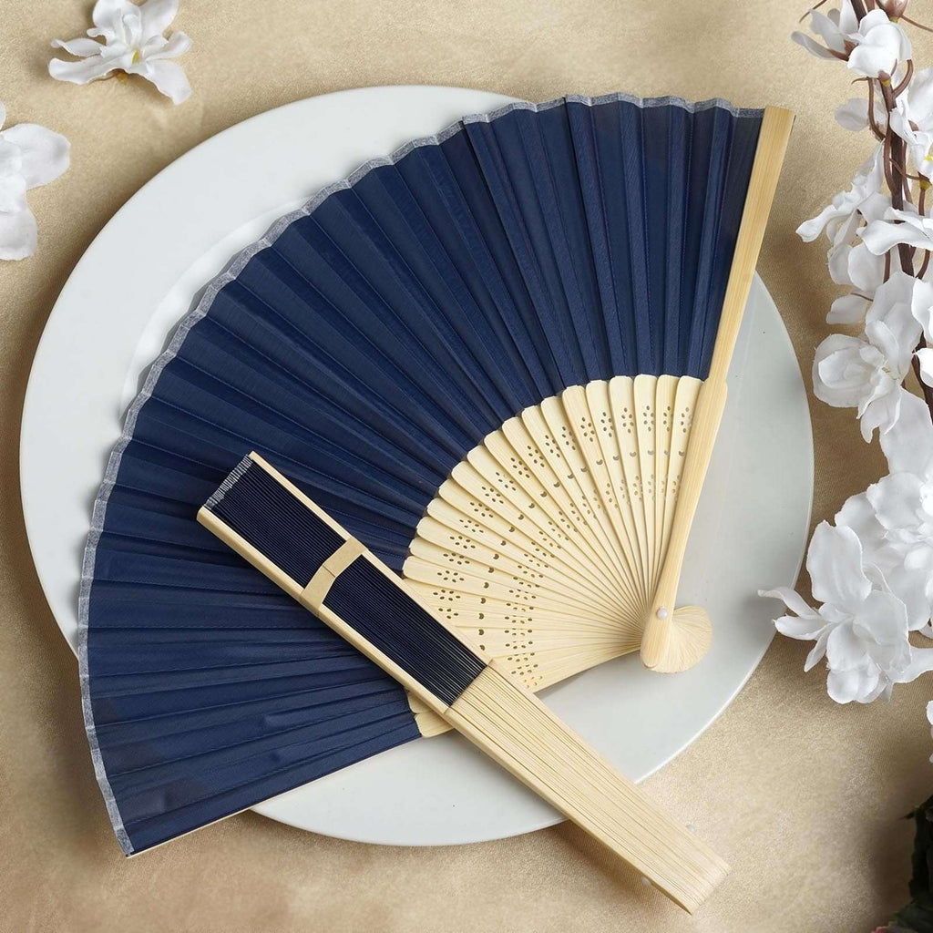 Wholesale Silk Folding Wedding Party Favor Fans Table Top Placecard Holder - Navy Blue
