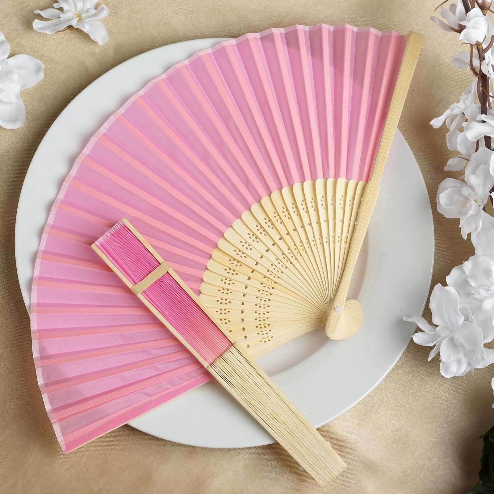 Wholesale Silk Folding Wedding Party Favor Fans Table Top Placecard ...