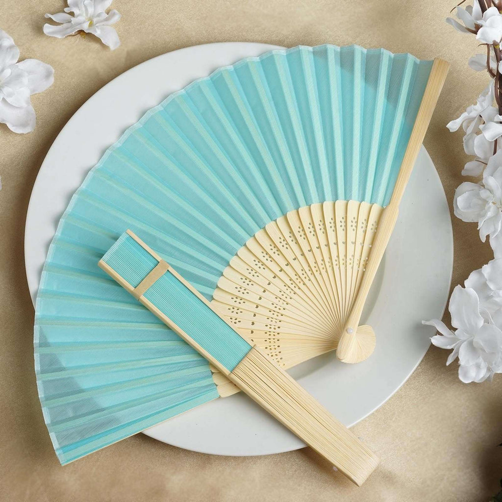 Wholesale Silk Folding Wedding Party Favor Fans Table Top Placecard Holder - Turquoise