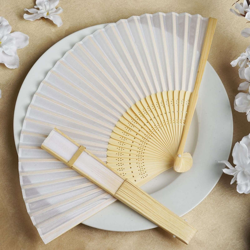 Wholesale Silk Folding Wedding Party Favor Fans Table Top Placecard Holder - White