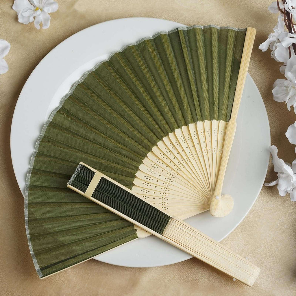 Wholesale Silk Folding Wedding Party Favor Fans Table Top Placecard Holder - Moss / Willow