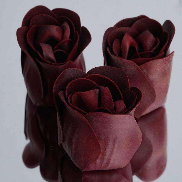 6 Pack Burgundy Scented Rose Flower Bath Shower Soap