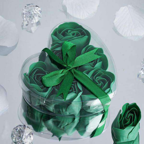 6 Pack Emerald Green Scented Rose Flower Bath Shower Soap with Gift Box and Satin Ribbon