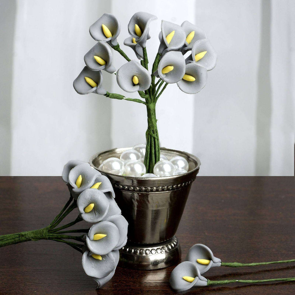 144 EXTRA TOUCH Peacock-Spread Craft Lilies- Silver