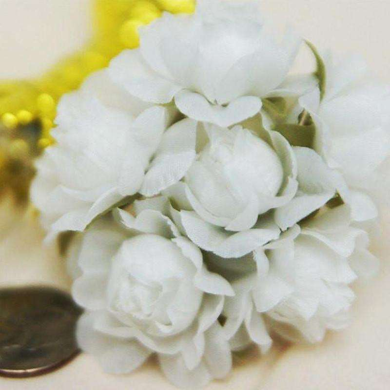 12 Bundle White Semi Bloomed Craft DIY Silk Roses