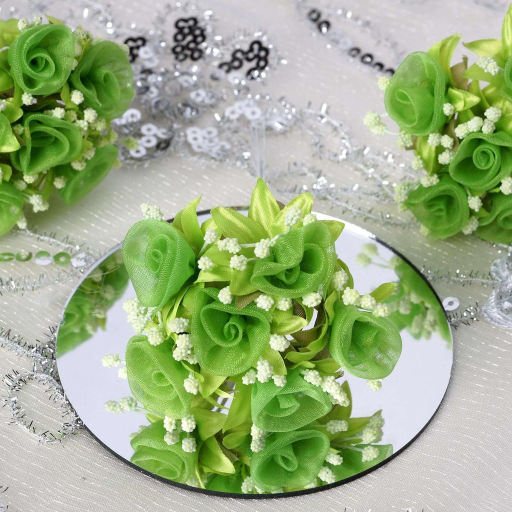 72 Shimmering Organza Rose Craft Flowers - Apple Green