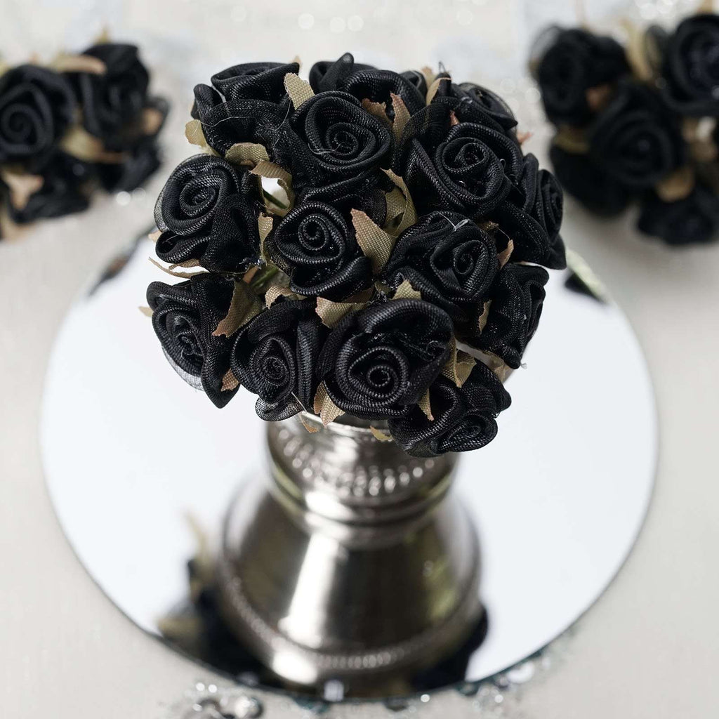 72 Black Satin & Organza Craft Roses with Silk Leaves